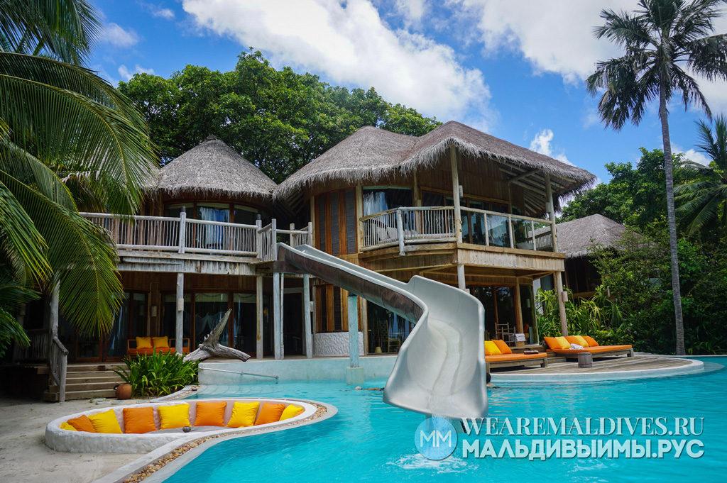 Пляжная вилла мальдивского отеля Soneva Fushi
