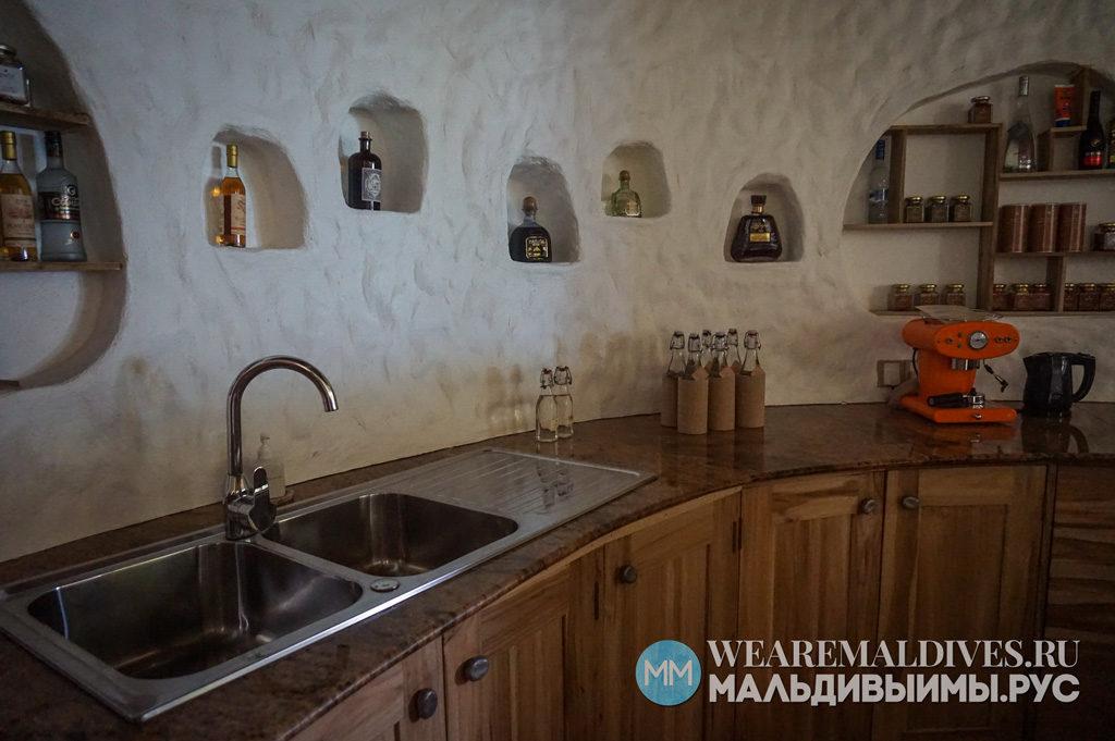 Кухня в пляжной вилле Soneva Fushi
