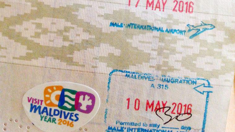 Штампы в паспорте о получении бесплатной визы на Мальдивы